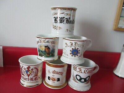 6 Antique  MISC    OCCUPATIONAL SHAVING MUGS   #52