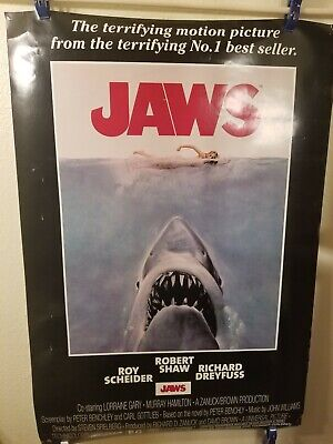 Large1975 JAWS VINTAGE MOVIE POSTER PRINT not double sided some small scratches