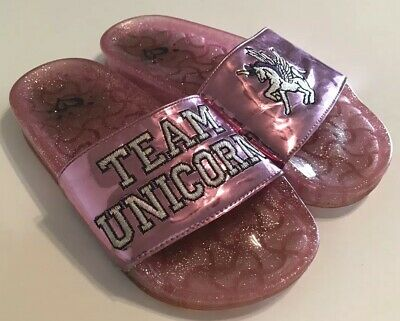 Justice Girls Team Unicorn Slides Sandals Size 5 Youth Pink