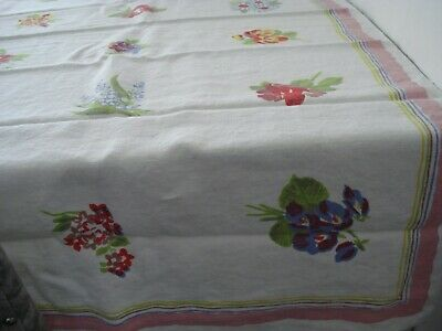 Vintage Tablecloth, The Pride of Flanders, 52 x 52. Linen. Various Flowers