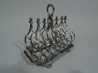 William IV Toast Rack - Antique Regency Gothick - English Sterling Silver - Fox