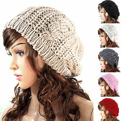 LADIES WOOLY PULL ON SLOUCH WARM WINTER BEANIE HAT CABLE KNIT BUTTONS RED PINK