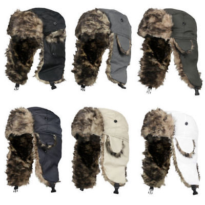Ladies Mens Unisex Warm Winter Trapper Aviator Slouch Beanie Hat Cosy Fur Liner