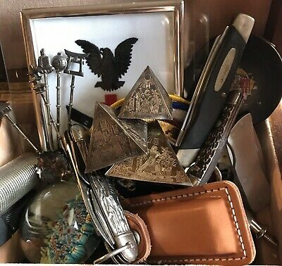 Vtg Junk Drawer Lot: Pocket Knives, Paperweight, Silver Spoons, Patches, More