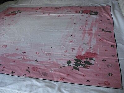 Vintage Tablecloth, Pink Floral. 46 x 52 Inches. Pink, White, and Green