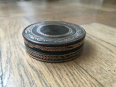 19th Century French Horn box with gold inlay
