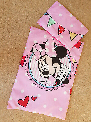 Dolls Minnie Mouse Pink Bedding Duvet Pillow Pram Cot Buggy Baby Annabell Born