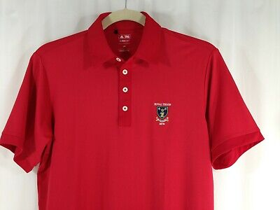adidas Climalite Royal Troon Mens Red Short Sleeve Polo Golf Shirt L The Open