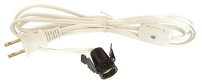 Country Farmhouse Snap In Candelabra Socket 6 Foot White Cord