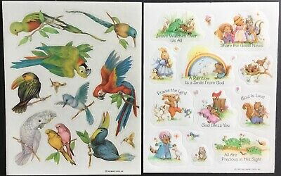 2 Sheets of Vintage Stickers - Rainbows & Birds - Excellent!!