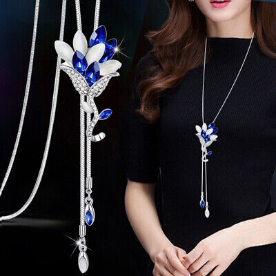 Womens Crystal Rose Flower Pendant Long Necklace Sweater Chain Fashion jewelry