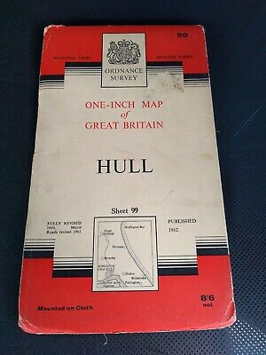 1962 Old Vintage OS Ordnance Survey One-inch Seventh Series Map Sheet 99 Hull