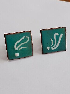(204) Pair Of Vintage Enamel On Copper Arts And Crafts Screw On Earrings
