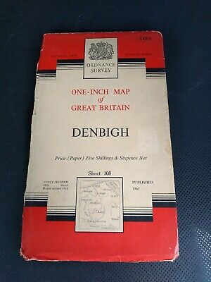 1961 Old Vintage OS Ordnance Survey One-inch 7th Series Map Sheet 108 Denbigh