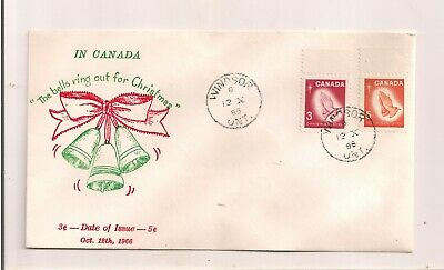 1966 Canada Fdc Christmas Bells Ring Out Unused Raised Cachet