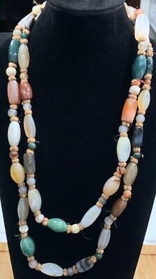 """Beautiful Antique Tibetan Chinese Agate Necklace 24"""" 168.14 grams Beads"""
