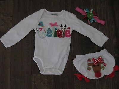 "MUD PIE BABY GIRL 3 PIECE CHRISTMAS OUTFIT 0-6mo / ""Believe"" / BNWOT"