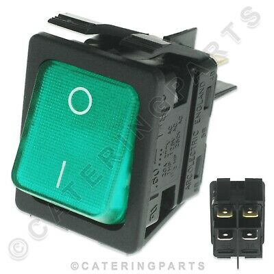 Genuine Moffat Rocker Switch 1003A 230V On Off Illuminated Green Hot Cupboard