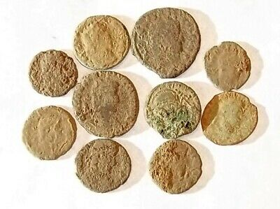 10 ANCIENT ROMAN COINS AE3 - Uncleaned and As Found! - Unique Lot 21742