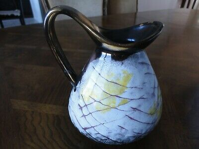 Vintage! West Germany Pottery White Brown Pitcher with Handle Vase Jar #587