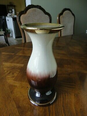 Vintage! West Germany Pottery White Brown Vase #304-22