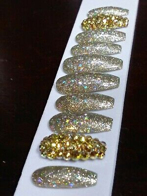 Gold Rainbow holographic glitter nails w/ gold crystals  GEL PRESS ON  coffin