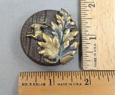 RABBIT Behind Leaves Antique MECHANICAL BUTTON: Wood w/ Brass OMEs, 1800s