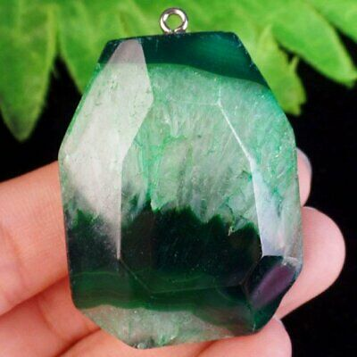 Faceted Green Onyx Druzy Geode Agate Freeform Pendant Bead A37956