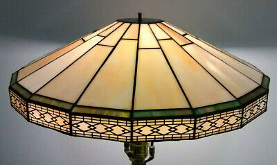 Vintage art deco stained glass large lamp shade makers mark gorgeous!