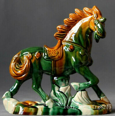 "6.6"" China Collection Fengshui Porcelain Tang Sancai green Statue of a Horse"