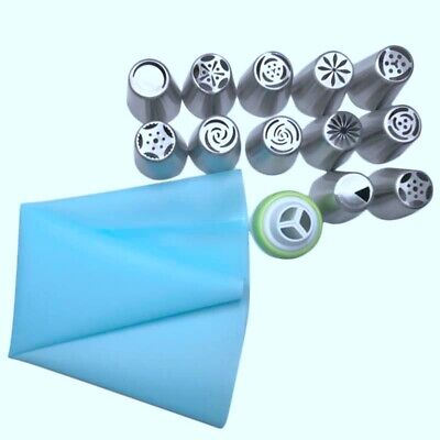 14Pc/Set Russian Tulip Icing Piping Nozzles Stainless Steel Flower Cream Pa G7A8