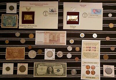 Junk Drawer Lot: Old U.S. Coins 1904+, Scrap Silver, Currency VINTAGE LOT +