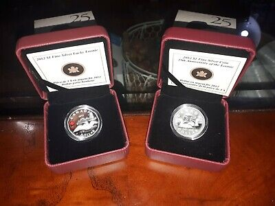 2012 $1 Canada 25th Anniversary Of Loonie And Lucky Loonie Silver 2 Coin Set