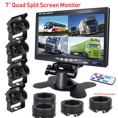 "7"" Quad Split Monitor Back Rear View Backup CCD 4Pin Camera For Truck RV Caravan"