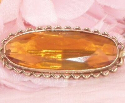 Beautiful **Large Antique Victorian 9Ct Gold Cased Honey Topaz Paste Brooch