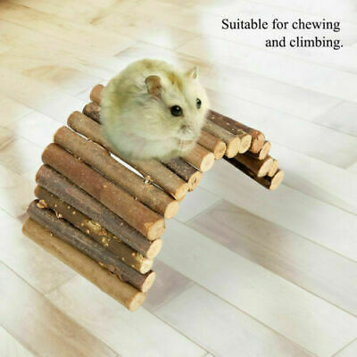 Reptile Mice Rodents Hamster Wooden Bridge Ladder House Small Animal Chew Toy