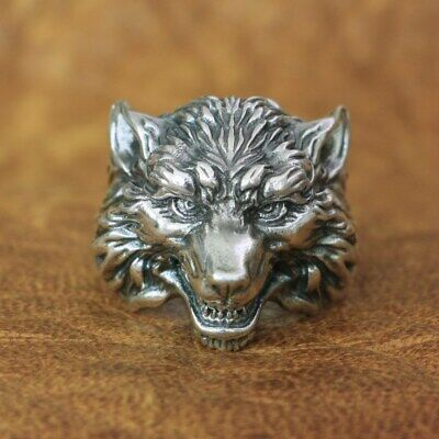 High Details Wolf Ring 925 Sterling Silver Mens Biker Rock Punk Ring TA163B
