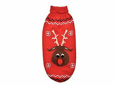 Ancol Woolly Christmas Cartoon Red Nose Reindeer Sweater Red Extra Small