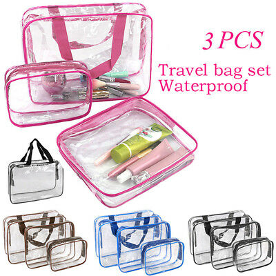 3 PCS Clear PVC Travel Wash Bag Cosmetic Makeup Toiletry Holder Pouch Set KitSC