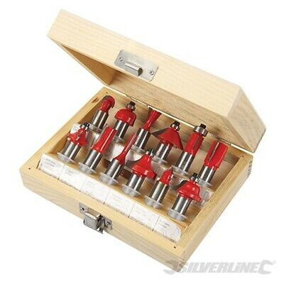 "Silverline 1//4/"" Routeur Bit Set 12pc TCT droite queue d/'aronde Flush Trim Cove"