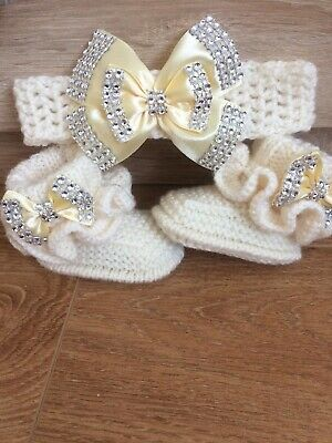 Hand knitted Romany Bling baby girls booties/shoes/Crochet headband.0-3months