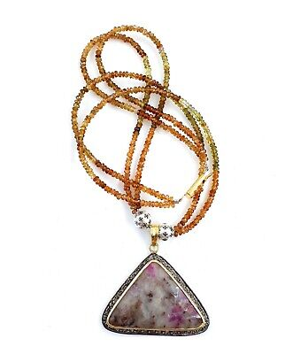 925 Solid Sterling Silver Wonder Sapphire Diamond Pendant With Tourmaline Beads
