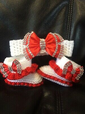 Hand knitted Romany Bling baby girls Shoes /booties+Crochet headband.0-3months
