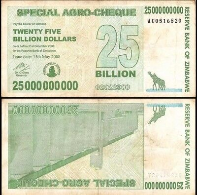 ZIMBABWE 25 Billion Dollars, 2008, P-62, World Currency - Paper Money