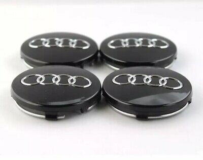 4X AUDI 60mm ALLOY WHEEL CENTRE CAPS Black A3 A4 A5 A6 TT RS4 Q5 Q7 4B0601170