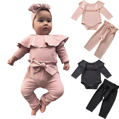 Newborn Baby Girls Outfits Infant Ruffle Romper Bodysuit Top Pants Trouser Suit