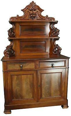 Server Sideboard Louis Philippe Flame Mahogany Antique French 1880 2-Door