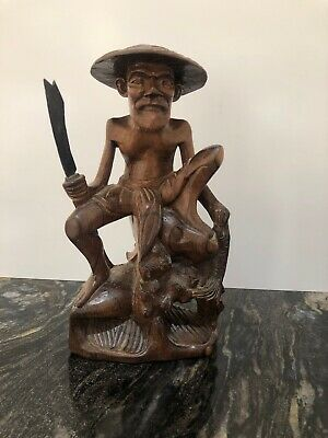 Antique Hand Carved Chinese Wooden Figure  Oriental Hardwood  Fisherman Detailed