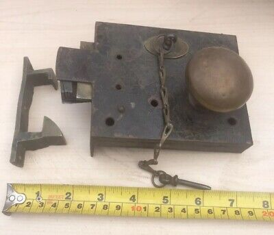 antique door lock. With Chain & Pin and catch & knob Combination light latch.