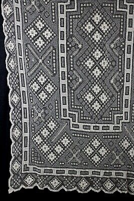 Vintage Crocheted Filet Tablecloth Rectangle White Geometric 66 X 82